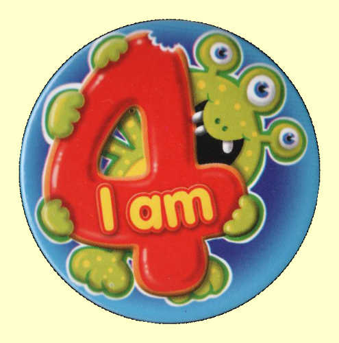 4th Birthday Badge Monster